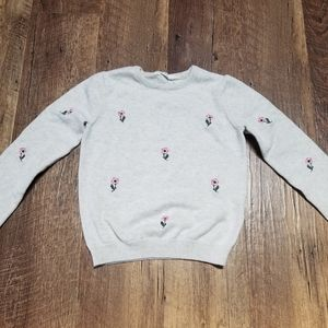 Girls H&M gray sweater with flowers Sz.6-8Y